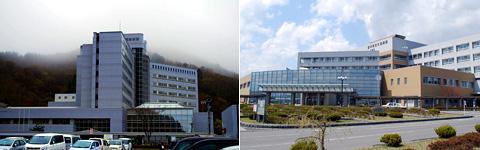(左)県立宮古病院,(右)県立久慈病院