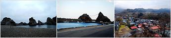 左:宮古浄土ヶ浜,中:久慈市・小袖海岸,右:二戸市内