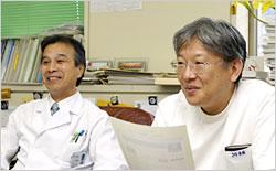 島本先生と斎藤先生。札幌医科大学にて