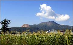 壮瞥町: トウモロコシ畑から昭和新山と有珠山をのぞむ